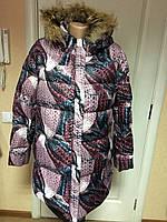 Пуховик теплый длинный с капюшоном и натуральным мехом, размер-L