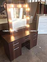 Коричневый визажный стол со стильными ручками. Модель V135 венге магия, фото 1