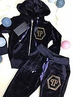 Костюм спортивный велюровый синего цвета для девочки 92-146