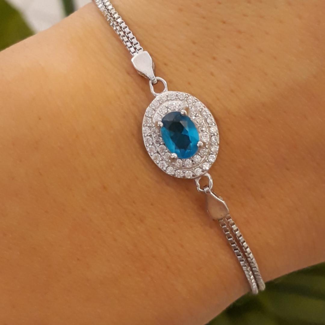 Браслет женский серебро 925 с голубым камнем