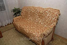Покрывала полуторные гобеленовые на кровать Лаура песочного цвета