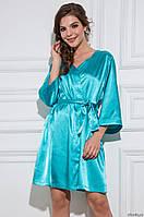 Домашний комплект атласный: халат и пеньюар размер XXL (48-50), шелк, голубой