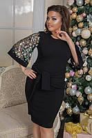 Красивое вечернее платье с вышивкой на рукавах больших размеров до 58-го