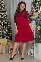 Красивое вечернее платье с кружевом больших размеров до 58-го бордовое