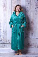 Длинный однотонный махровый халат с капюшоном , фото 1