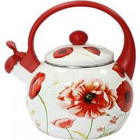 Чайник эмалированный 2,2 л. Красный мак Zauberg