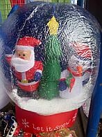 Шар с падающем снегом,дед мороз и снеговик