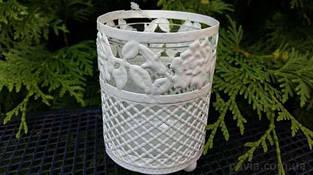Подсвечник  металлический со стаканом белый