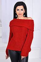 Молодежный свитер с опущенным воротником спадающий с плеча