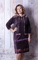 Женский велюровый халат с капюшоном якорьки, фото 1