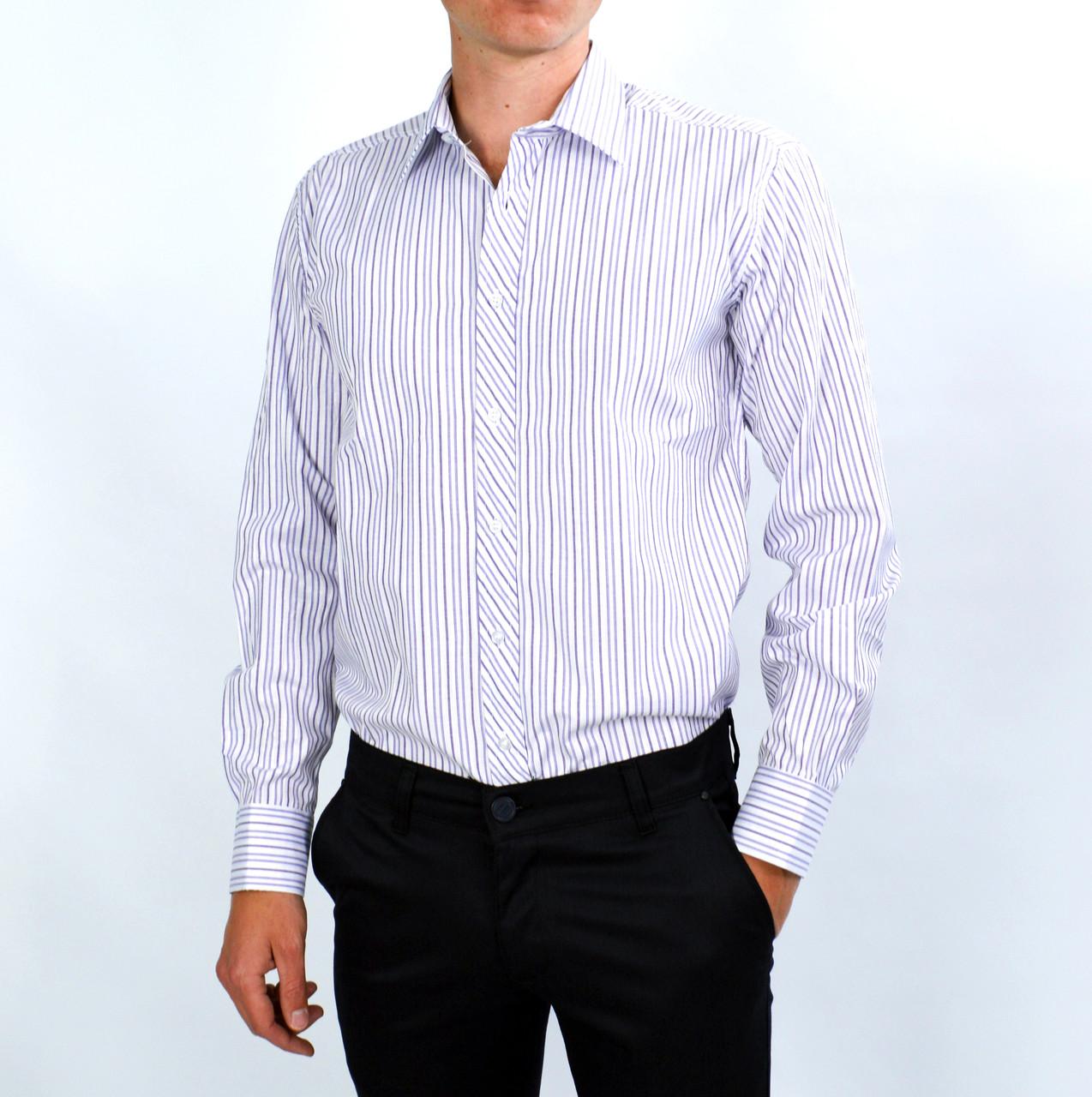 15f668238c2 Белая в фиолетовую полоску мужская рубашка классическая SALVINO ...