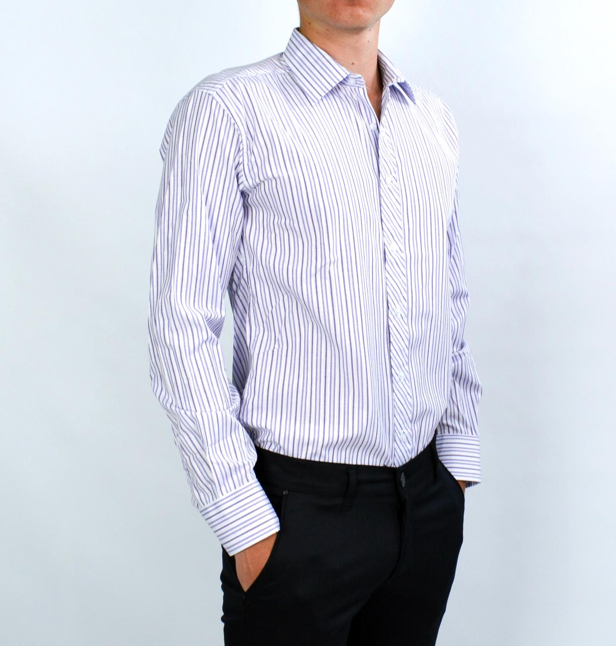 2f9f09a3a4dd0a5 ... Белая в фиолетовую полоску мужская рубашка классическая SALVINO, ...