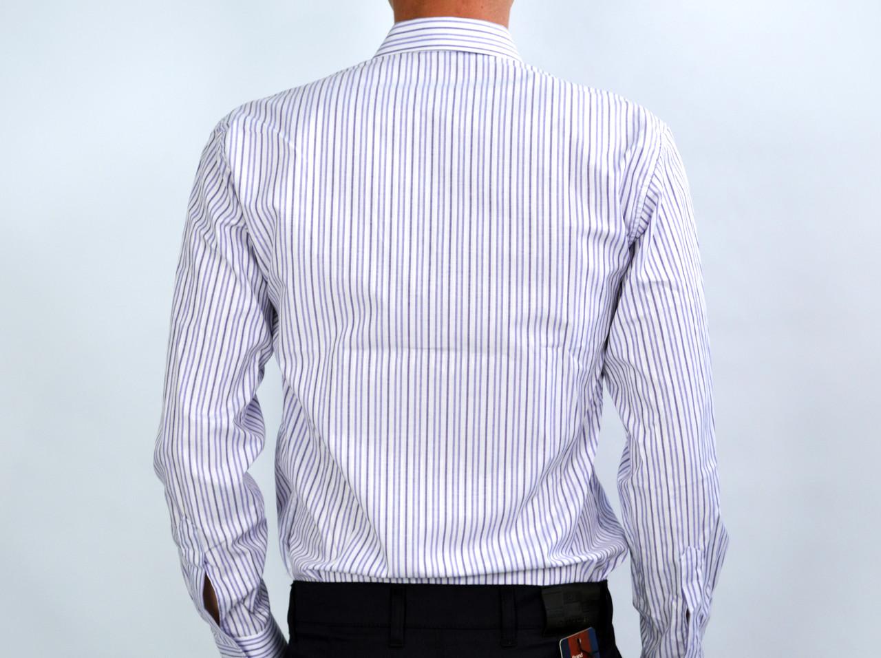 a38ff138f25 Белая в фиолетовую полоску мужская рубашка классическая SALVINO ...