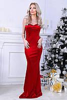 Вечернее сногшибательное открытое платье макси бархатное красное