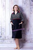 Велюровый халат женский в полосочку, фото 1