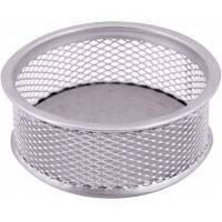 Подставка для скрепок Optima О36303-01, серебристая, металическая, круглая маленькая