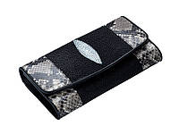 Кошелек черный  Ekzotic Leather из кожи ската с питоном, фото 1