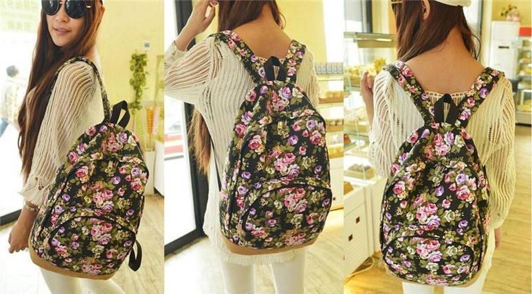 Міські рюкзаки з квітковим принтом. Рюкзак з квітами, фото 2