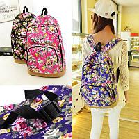 Женские молодежные рюкзаки с цветочным принтом. Рюкзак с цветами. Синий, черный, красный.