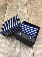 Мужской комплект, галстук, запонки,платок