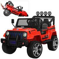 Детский электромобиль Джип M 3237 EBLR-3, 4 мотора,мягкие колеса и кожаное сиденье