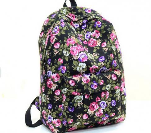 Жіночі міські рюкзаки з квітами. Молодіжні рюкзаки. 17 літрів, фото 2