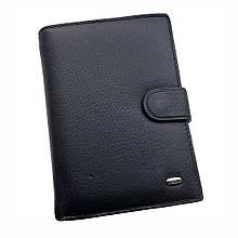 Мужской кожаный кошелек Dr. Bond Classic. Портмоне мужское. Черный и коричневый. Кожа.