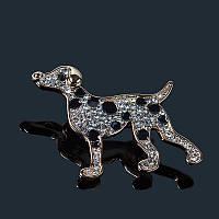 Качественная брошь Собака с австрийскими кристаллами