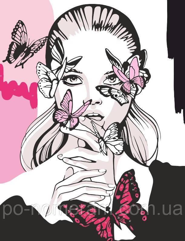 Раскраска для взрослых Девушка с бабочками (RS-N0001374 ...