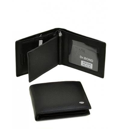Мужской кошелек Dr. Bond из натуральной кожи с вложенным портмоне и ручкой. Портмоне мужское. Черный., фото 2