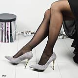 Стильные серые туфли- лодочки на фигурном золотистом каблуке--шпильке