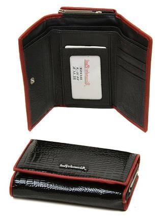 Женский лаковый кожаный кошелек Alessandro Paoli. Черный и красный кошелек из натуральной кожи. Модный, фото 2