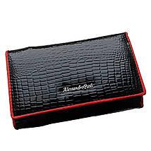 Женский лаковый кожаный кошелек Alessandro Paoli. Черный и красный кошелек из натуральной кожи. Модный, фото 3