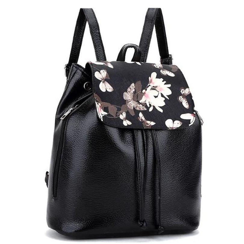 Рюкзак жіночий з квітковим принтом. Чорний