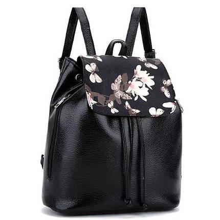 Рюкзак жіночий з квітковим принтом. Чорний, фото 2