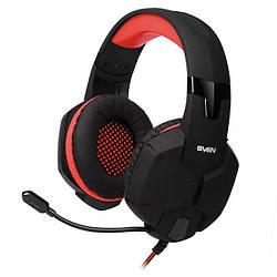 Наушники накладные проводные с микрофоном Sven AP-G988MV Black/Red