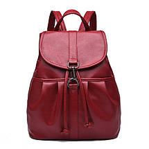 Жіночий міський рюкзак. Стильні жіночі рюкзаки в чотирьох кольорах: червоний, чорний, бежевий, синій., фото 2