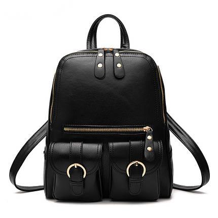 Молодіжні міські жіночі рюкзаки в трьох кольорах: червоний, чорний, синій., фото 2
