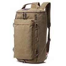 Универсальная сумка рюкзак мужская. Трансформер. Черный, хаки и зеленый. Брезент, фото 2