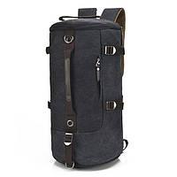 Универсальная сумка трансформер мужская. Рюкзак брезентовый. Черный, хаки и синий