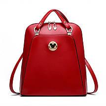 Жіноча сумка рюкзак трансформер. Стильні жіночі рюкзаки в трьох кольорах: червоний, чорний, бежевий., фото 3