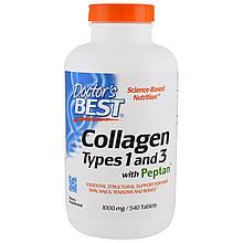 Коллаген Doctor's Best, Тип 1 и 3 с пептаном, 1000 мг, 540 таблеток
