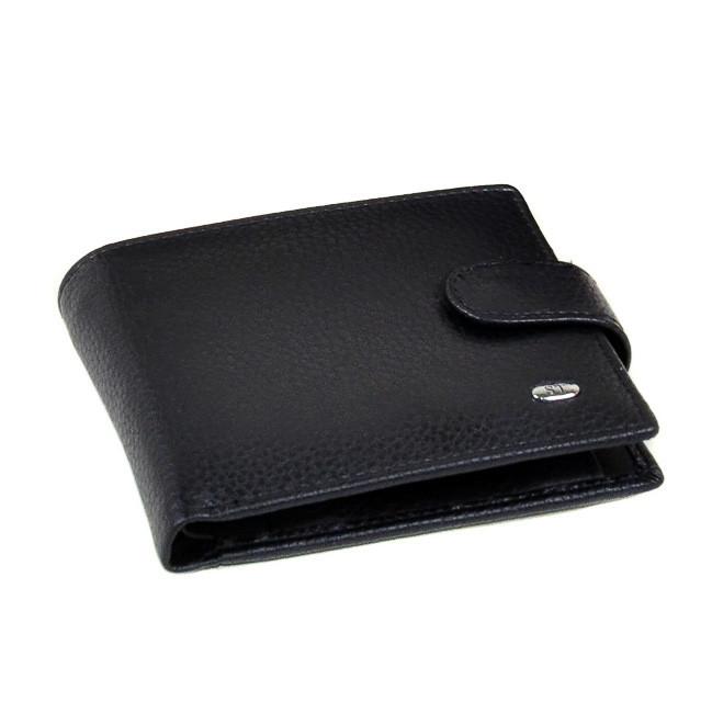 Чоловічий гаманець Sergio Torretti з натуральної шкіри. Чорний