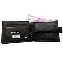 Чоловічий гаманець Dr. Bond з натуральної шкіри. Портмоне чоловіче. Чорний колір., фото 3
