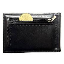Мужской кошелек с зажимом для купюр. Черный и коричневый, фото 2