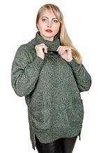 Туника свитер вязанный под горло  размер плюс Планета малахит (50-60)