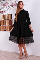 Черное женское платье на пуговицах 46-48