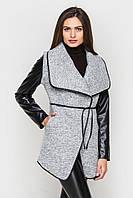 Пальто с эко-кожей 7130