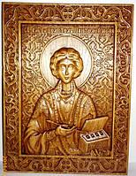 Иконы резные из дерева. Икона Пантелеймона Целителя резная из дуба