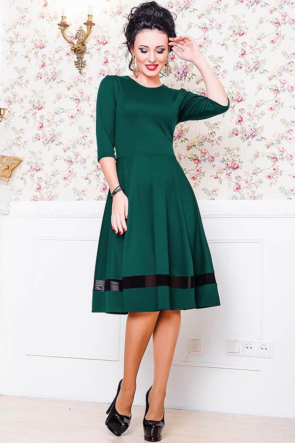 Трикотажное платье  -Миу-Миу- изумрудное